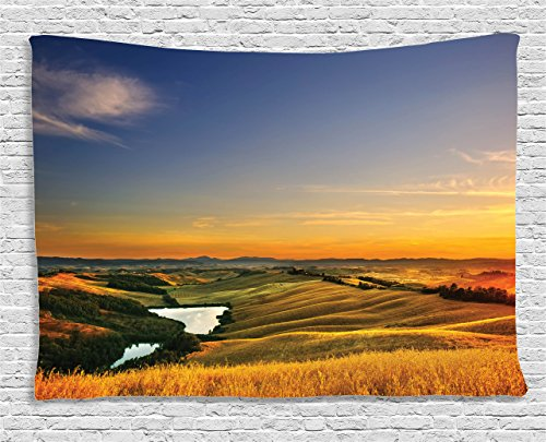 Ambesonne Tuscan Decor Tapestry, Magical Photo of Mediterranean Rural in The Valley with a Small Lake Europe Nature, Wall Hanging for Bedroom Living Room Dorm, 60 X 40 Inches, Blue Yellow Green