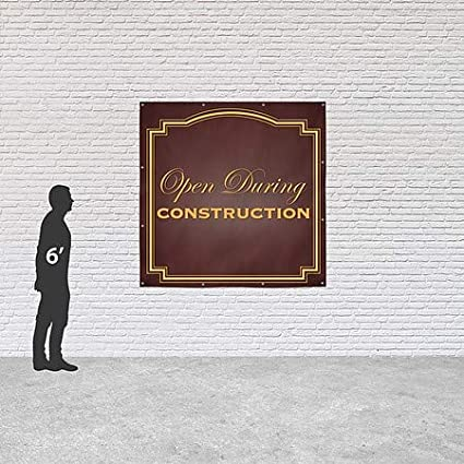 Open During Construction CGSignLab 8x8 Classic Brown Heavy-Duty Outdoor Vinyl Banner