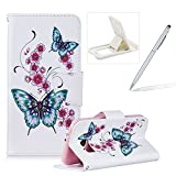 Leather Case for Samsung Galaxy S7,Flip Wallet Cover for Samsung Galaxy S7,Herzzer Stylish Butterfly Flower Pattern Magnetic Closure Purse Folio Smart Stand Cover with Card Cash Slot Soft TPU Inner Case for Samsung Galaxy S7 + 1 x Free White Cellphone Kickstand + 1 x Free Silver Stylus Pen
