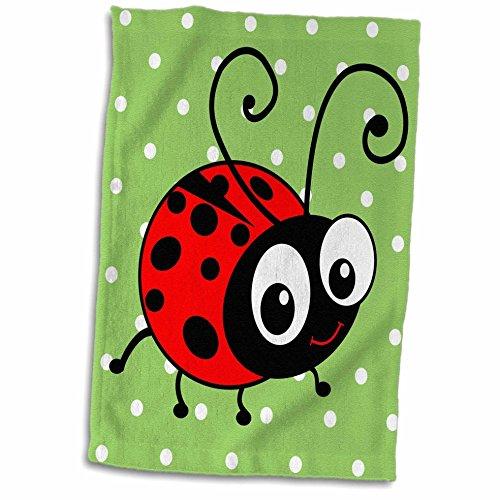 3D Rose Cute Ladybug Green Polka Dot Design - Kawaii Happy Red and Black Spots Ladybird Cartoon Lady Bug Hand/Sports Towel, 15 x 22