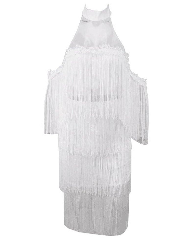 White UONBOX Women's Off Shoulder Sheer Mesh Pearl Beaded Cocktail Party Mini Tassel Dress