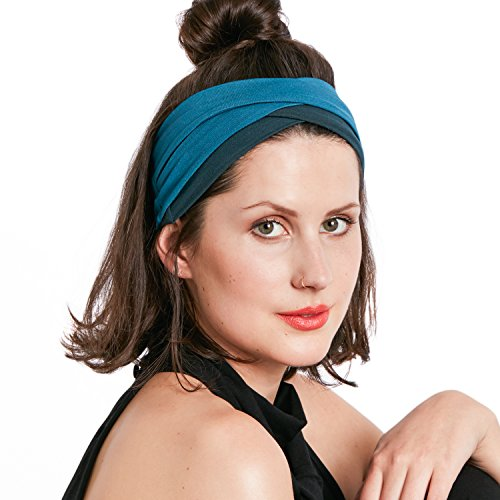 BLOM Cross Headbands Two Pack. Great For Sports, Yoga, Fashion, and Running. (Dark Teal & Bali - Band Indonesia