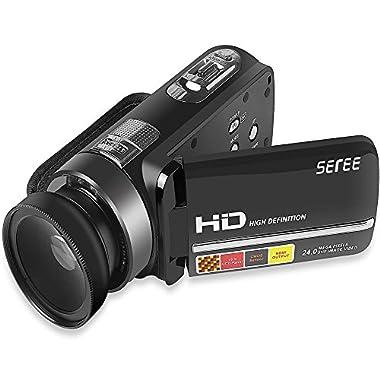 SEREE HDV-301 FHD 1080P Digital Video Camera Camcorder Night Vision Wide Angle Macro Fisheye Shooting 24MP 3 Inch Touch Screen