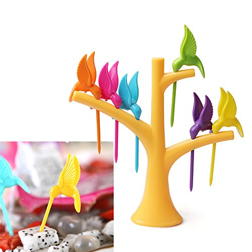 Ayutthaya Shop 1 Set Kitchen Gadget Bird Tree Fruit Fork 1 Stand+6 Forks Toothpick Fruit Salad Tool Cartoon Party Fork Tableware Dinnerware Set (Global Guts Costume)