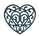 Stonebriar Country Rustic Denim Blue Heart Shaped Cast Iron Trivet with Rubber Feet, Heat Resistant Pot Holder for Hot Dishes, Decorative Kitchen Accessory for Table Top or Wall Hanging