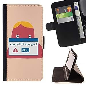 King Case - FOR Apple Iphone 6 PLUS 5.5 - Can not fine object - Prima caja de la PU billetera de cuero con ranuras para tarjetas, efectivo Compartimiento desmontable y correa para la mu?eca