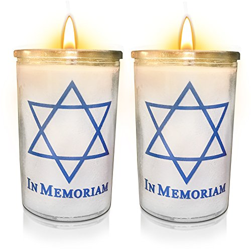 Memorial Candle Yartzeit Candle with Star of David in Glass – White Paraffin Wax Candle Bu ...