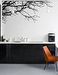 Stickerbrand Nature Vinyl Wall Art Tree Top Branches Wall Decal Sticker - Black, 44\