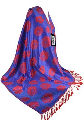 GFM Fastglas réversible en Pashmina élégant Motif plumes de Paon Doux hiver chaud & d'automne pour écharpe châle -  Multicolore - Large
