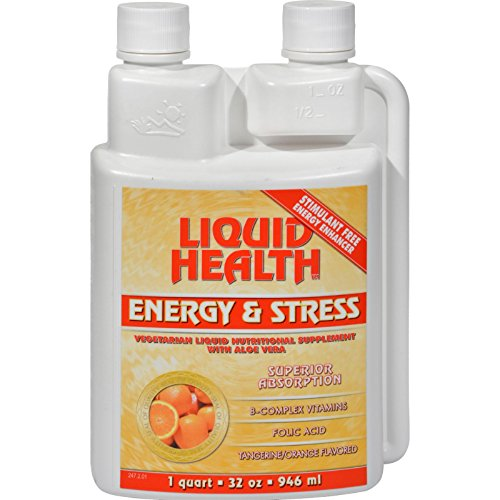 Liquid Health Energy and Stress Tangerine Orange - Superior Absorption - Stimulant Free - Energy Enhancer - 32 fl oz (Pack of 4) by Liquid Health