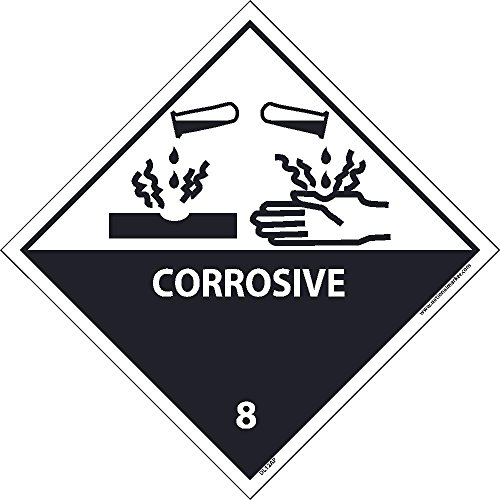 DL12ALV National Marker Dot Shipping Label, Corrosive 8, 4 Inches x 4 Inches, Ps Vinyl, 500/Roll - Hazardous Labels Shipping