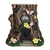 Exhart Large Tree Stump Fairy House Garden Statue, Solar Powered, Fairy Gardening, Resin, 17″ L x 15″ W x 17″ H