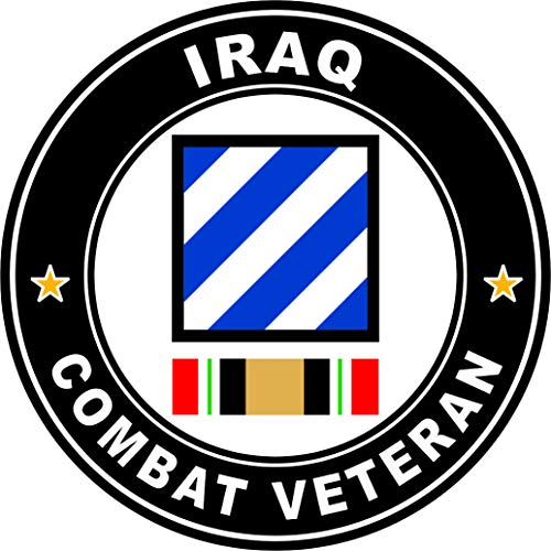 Military Vet Shop US Army 3rd Division Operation Iraqi Freedom Combat Veteran Window Bumper Sticker Decal 3.8