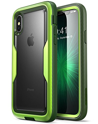 i-Blason iPhone X Case, iPhone Xs Case [Heavy Duty Protection] [Clear Back] [Magma Series] Shock Reduction/Full Body Bumper Case with Built-in Screen Protector for Apple iPhone X/iPhone Xs (Green)