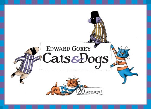 Edward Gorey Cats and Dogs Postcards: Box of 20 postcards, 10 each of 2 designs Edward Gorey Cats