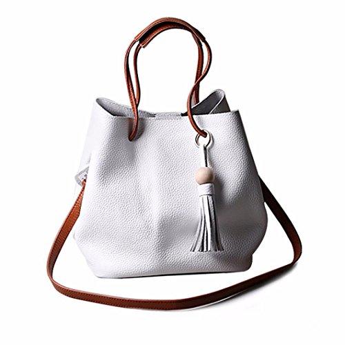 Sikye Women Tassel Leather Satchel Handbag Shoulder For Women Tote Messenger Cross-body Bag For Girls (White)