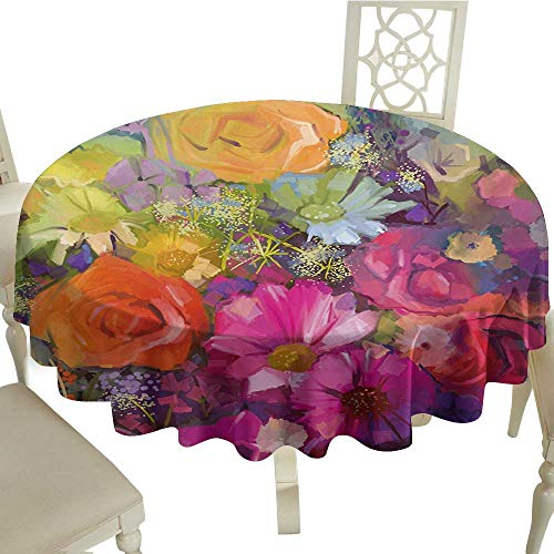 Polyester Round Tablecloth 70 Inch Floral,Vibrant Flower Bouquet with Daisy Peony Gerbera Petals Romantic Arrangement Print,Multicolor for Home,Party,Wedding & More