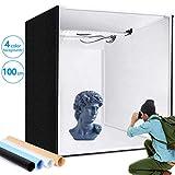 Photo Light Box, SAMTIAN 100x100x100CM Portable Folding Studio Box Professional Table Top Photography Lighting Kit 4 Colors Backdrops LED Lights Adjustable Brightness 15000lm (Tamaño: 100 cm)