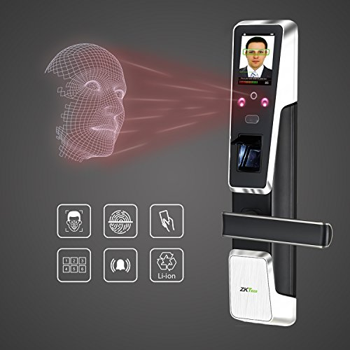 Electronic Door Lock Face Recognition Keyless Door Lock Digital Touch Screen Fingerprint Biometric Locks with Rechargeable Lithium Battery+5 pcs Mifare Cards.Right Handed
