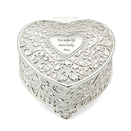 (OnePlace Gifts Personalized Flourish Heart Keepsake Box, Silver Plated Romance Trinket Box for Birthday, Valentines, Mother's Day and Other Life's Special Moments)