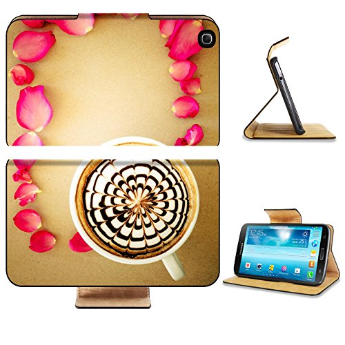 Samsung Galaxy Tab 3 8.0 Tablet Flip Case A cup of coffee with latte art and petals rose on brown paper background IMAGE 35214780 by MSD Customized Premium Deluxe Pu Leather generation Accessories HD