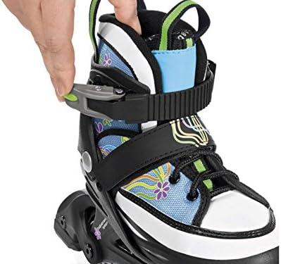 Bota blanda de patines en línea para chica patines Gr, 29-33 Colour: Jeans con flores ProSleeves amplia - y la longitud ajustable en 5 tamaños: Amazon.es: Deportes y aire libre
