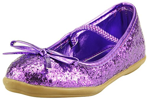 Sparkly Ballerina (SKY HIGH Flower Girl's Glitter Purple Sparkly Ballet Flat Dress Shoes Elastic Strap Toddler Little Kids (7))