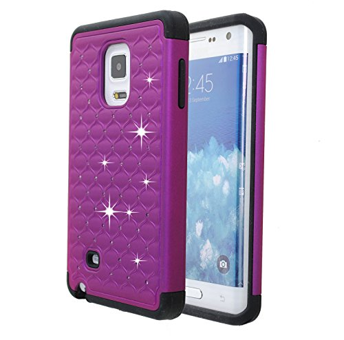 Studded Rhinestone Crystal Bling Case [Shockproof] Hybrid Armor [Dual Layer] Silicone Rubber Skin Hard Case Cover for Galaxy Note Edge (Bling Purple) (Samsung Note 4 Case Bling Wallet)