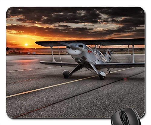 Mouse Pad - Aircraft Double Decker Airport Army Aviation - Airport Sunrise