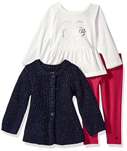 Nautica Baby Girls Three Piece Sweater Sets, Lurex Navy, 24 - Baby Set Sweater