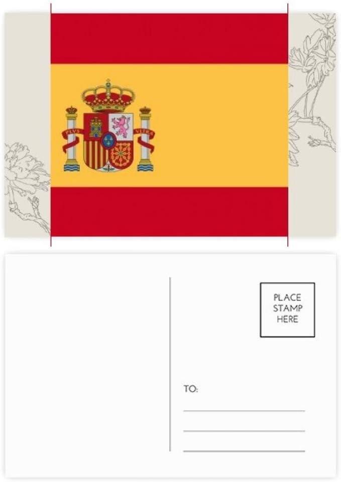 DIYthinker España Nacional a la Bandera Europa País Postal de la flor Conjunto de tarjeta de correo Gracias lateral 20Pcs 5,7 pulgadas x 3,8 pulgadas Multicolor: Amazon.es: Oficina y papelería