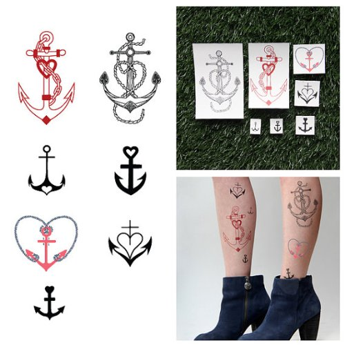 Tattify Heart Anchor Temporary Tattoos - Sea Legs (Set of 12 Tattoos - 2 of each Style) - Individual Styles Available and Fashionable Temporary (Anchor Tattoos Women)