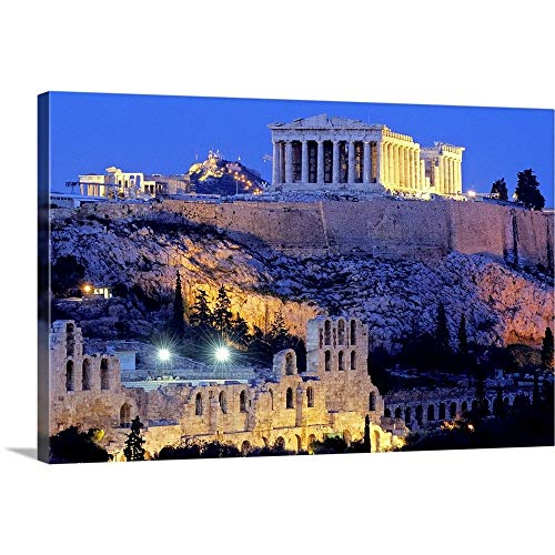 Greece, Attica, Athens, View of The Acropolis with The Parthenon Canvas Wall Art Print, 18
