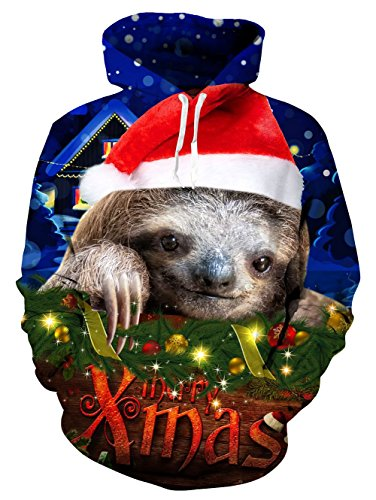 Hoodie Tasche Stampa Cappuccio Pullover Loveternal Con Felpa Unisex Christmas Sloth 3d 6Ax80p