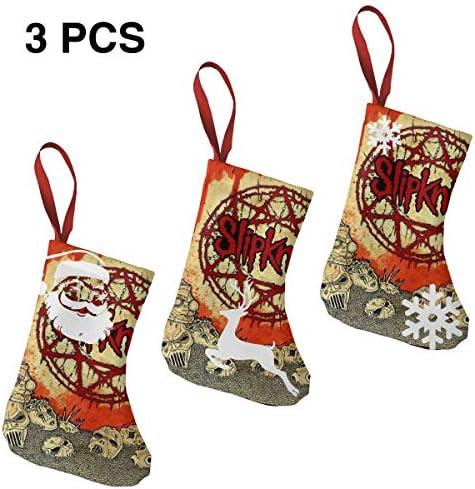 クリスマスの日の靴下 (ソックス3個)クリスマスデコレーションソックス ロックミュージックSlipknot クリスマス、ハロウィン 家庭用、ショッピングモール用、お祝いの雰囲気を加える 人気を高める、販売、プロモーション、年次式