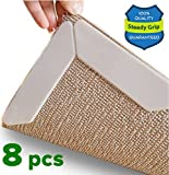 Rug Grippers for Hardwood Floors Carpeted Throw Rug Area Rugs Tile| Carpet Pad Mat Rug Gripper Strips Tape Holders Anti-Curling, Anti-Skid Rubber Protector|Reusable Any Shape Round, 5x8, 8x10 (8 PACK)