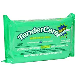 TenderCare Flushable Wipes, Unscented Natural Formula, Case Pack, Twelve - 50 Wipe Packs (12 Pack)