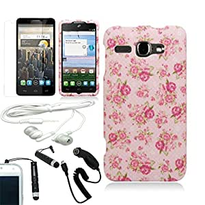 [ARENA] VINTAGE PINK ROSE FLOWER COVER FITTED SNAP ON HARD CASE for ALCATEL ONE TOUCH SNAP Y7030 + FREE ARENA ACCESSORY KIT