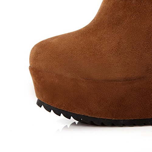 AgooLar Women's Solid High-Heels Round Closed Toe Imitated Suede Zipper Boots Yellow 4oJmgXbj4K