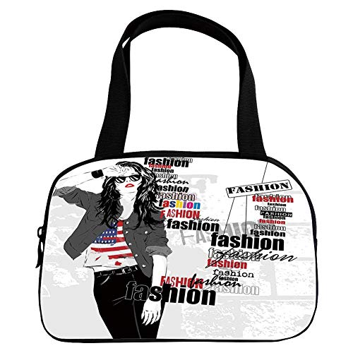 iPrint Vogue Small Handbag Pink,Fashion House Decor,A Modern Girl with USA Flag Tshirt Colorful Thema Beauty in Street,Black White,for Girls,Diversified Design.6.3