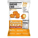 Shrewd Food Sriracha Cheddar Keto Protein Crisps | High Protein, Low Carb, Gluten Free Snacks | Real Cheese, No Artificial Flavors | Soy Free, Peanut Free (8-Pack of .74oz Bags)