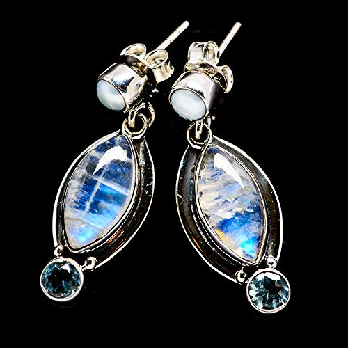 Rainbow Moonstone, Blue Topaz, Cultured Pearl 925 Sterling Silver Earrings 1 1/4