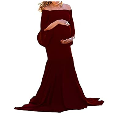 37e52f7fb0dc2 Maternity Dress Cold Shoulder Bell Sleeves Photo Prop Mermaid Gown With Long  Train For Pregnant Photography