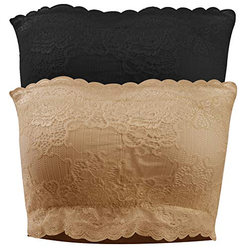 diwollsam Women's Bandeau Bra, Full Coverage Soft Tube Top Bra Stretchy Strapless Chest Wrap Removable Pad for Daily Summer Party Wear(Black Lace x1, Beige Lace x1, XXL) Body Superior Full Coverage