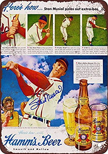 Tengss Stan Musial for Hamm's Beer Vintage Look Reproduction Metal Tin Sign 8X12 Inches