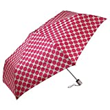 London Fog Auto Open and Close Tiny Mini Umbrella - Tan with Pink