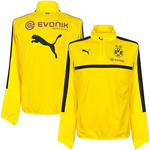 Puma Borussia Dortmund FC 2016/17 1/4 Zip Training Top - Adult - Cyber Yellow/Black - Small