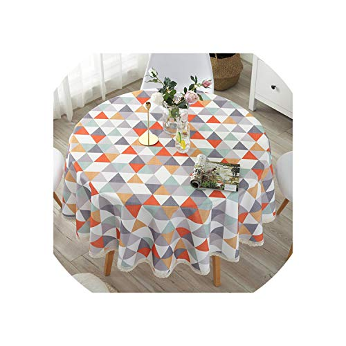 Table Cloth Cotton Linen Dining Decorated Mediterranean Style Can Wash The Tablecloth Oil and Water Proof,Light Green,110x110cm
