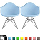 Cheap 2xhome Set of 2 Blue Mid Century Modern Vintage Designer Molded Shell Plastic Armchair With Arms Back Chrome Wire Metal Base Eiffel Dining Chairs Living Room Accent Dowel Office Guest Work Desk DAR