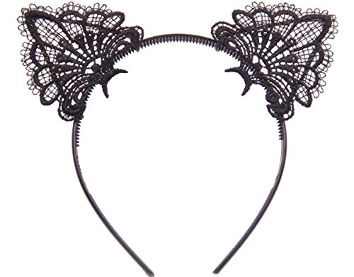 [Bonnie Z. Leonardo Charming Black Lace Cat Ears Headband Pure Black Set 2pcs] (White Cat Costume For Women)